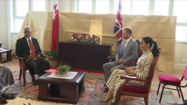 interior shots of prince harry duke of sussex and meghan duchess of sussex meeting with the prime minister of tonga ʻakilisi pōhiva on 25th october... - prime minister stock videos & royalty-free footage