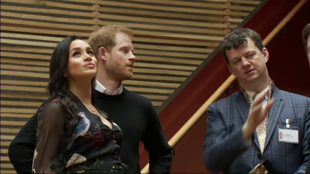 interior shots of prince harry duke of sussex and meghan duchess of sussex tour the newly revamped bristol old vic theatre on 1st february 2019 in... - harry meghan tour stock-videos und b-roll-filmmaterial