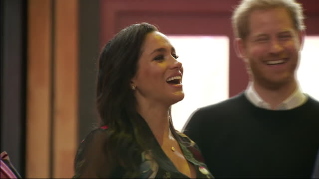 interior shots of prince harry duke of sussex and meghan duchess of sussex arriving for their visit to bristol old vic theatre on 1st february 2019... - prince harry stock videos & royalty-free footage