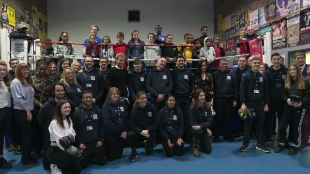 interior shots of prince harry duke of sussex and meghan duchess of sussex visit the empire fighting chance charity boxing club and take photo with... - bristol england stock-videos und b-roll-filmmaterial