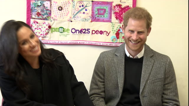interior shots of prince harry duke of sussex and meghan duchess of sussex visit the one25 charity and hear from the charity's staff and volunteers... - prince harry stock videos & royalty-free footage