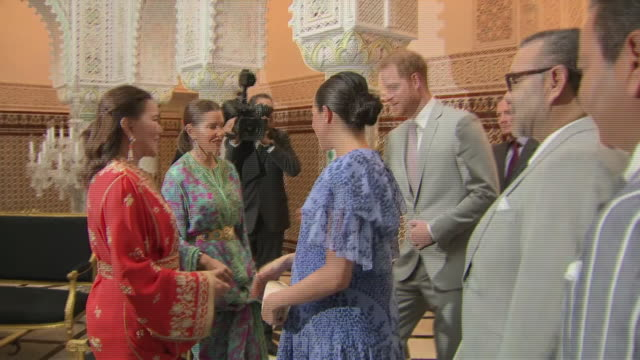 Interior shots of Prince Harry Duke of Sussex and Meghan Duchess of Sussex greet Princess Lalla Meryem of Morocco and Princess Lalla Hasna of Morocco...