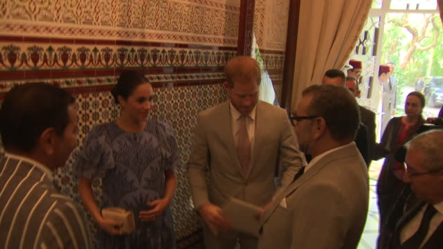 Interior shots of Prince Harry Duke of Sussex and Meghan Duchess of Sussex meeting King Mohammed VI of Morocco on 25th February 2019 in Rabat Morocco...