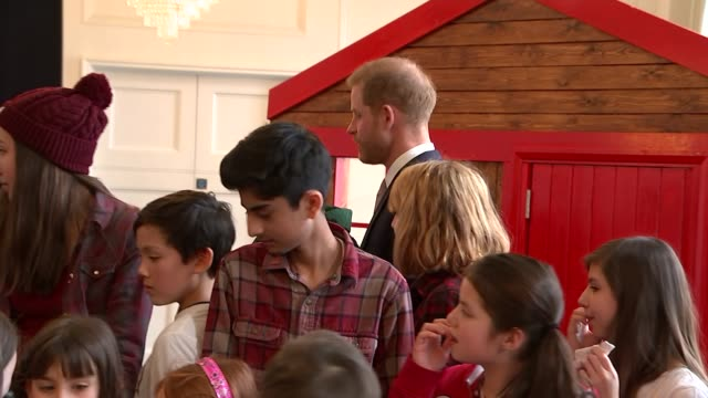 Interior shots of Prince Harry Duke of Sussex and Meghan Duchess of Sussex attending Commonwealth Day Youth Event at Canada House on 11 March 2019 in...