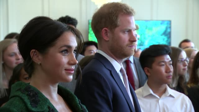 interior shots of prince harry duke of sussex and meghan duchess of sussex attending commonwealth day youth event at canada house on 11 march 2019 in... - herzogin stock-videos und b-roll-filmmaterial