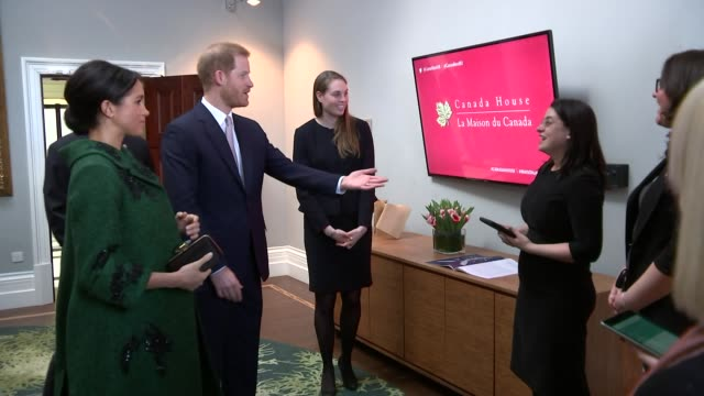 interior shots of prince harry duke of sussex and meghan duchess of sussex visiting canada house on commonwealth day on 11 march 2019 in london... - canada house stock videos and b-roll footage