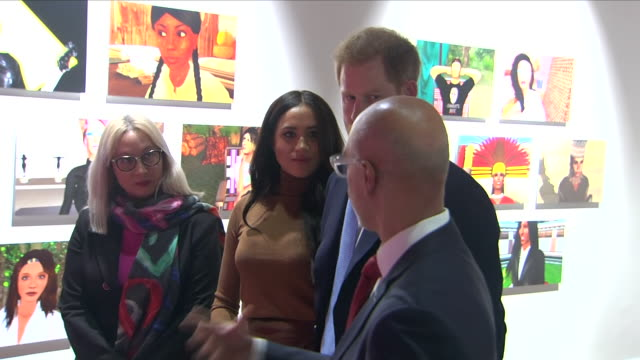 interior shots of prince harry duke of sussex and meghan duchess of sussex visiting canada house and meeting staff with canada's high commissioner... - canada stock videos & royalty-free footage