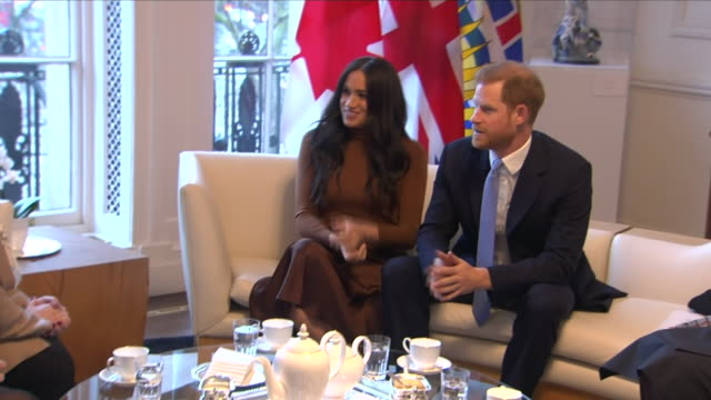 interior shots of prince harry duke of sussex and meghan duchess of sussex visiting canada house and meeting staff with canada's high commissioner... - royalty stock videos & royalty-free footage