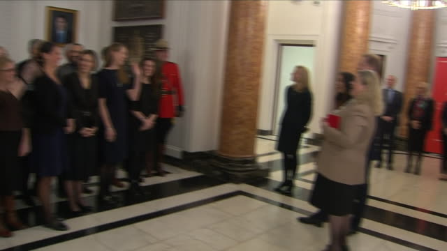 interior shots of prince harry duke of sussex and meghan duchess of sussex visiting canada house and meeting staff with canada's high commissioner... - canada house stock videos and b-roll footage