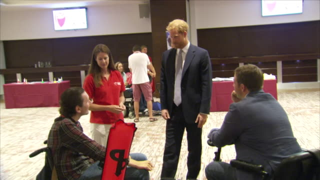 Interior shots of Prince Harry Duke of Sussex with Karen Hood being shown round the RFU Injured Players Foundation annual Client Forum and meeting...
