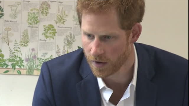 Interior shots of Prince Harry meeting service users and staff taking part in activities icing cupcakes and making collages during a visit to the...