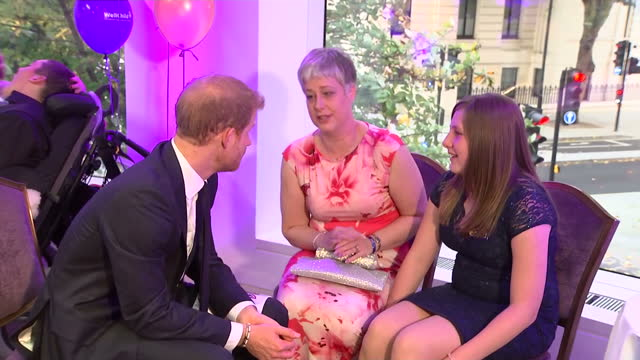 Interior shots of Prince Harry meeting the parents and carers of seriously ill children at the WellChild Awards at the Royal Lancaster Hotel on 16...