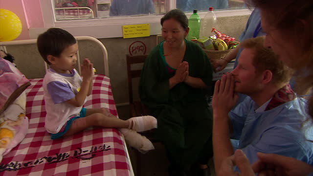 Interior shots of Prince Harry meeting young burns patients during a visit to Kanti Children's Hospital >> on March 23 2016 in Pokhara Nepal