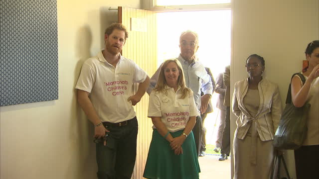 Interior shots of Prince Harry meeting young people during a visit to the Sentebale Children's home that he supports on November 26 2015 in Maseru...
