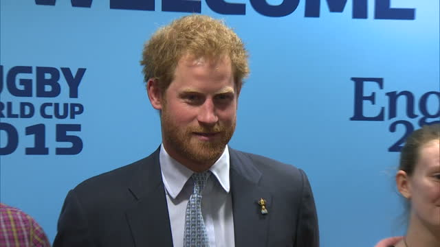 interior shots of prince harry posing for photographs with coaches and young people involved in the rugby empowering employment programme before... - exeter england stock videos & royalty-free footage