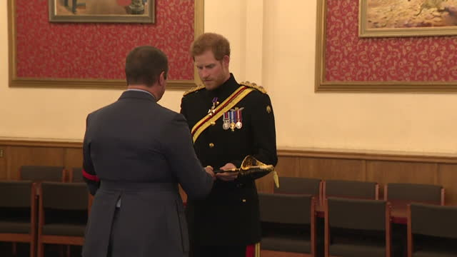 interior shots of prince harry presenting the firmin sword of peace 2015 to the raf police for their contribution to humanitarian activities during a... - british military stock videos & royalty-free footage