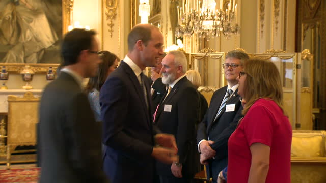 interior shots of prince harry prince william duke of cambriadge and catherine duchess of cambridge speaking to guests at a world mental health... - herzogin stock-videos und b-roll-filmmaterial