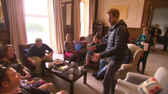 interior shots of prince harry sat talking to volunteers and veterans at the help for heroes recovery centre on january 23, 2017 in tidworth, england. - tidworth stock videos & royalty-free footage
