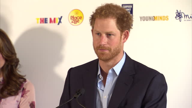 Interior shots of Prince Harry speaking about the importance of ending the stigma surrounding discussion of mental health problems and talking about...
