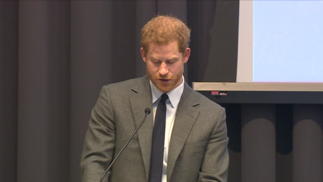 Interior shots of Prince Harry speaking at a Veterans Mental Health conference at Kings College on 15 March 2018 in London United Kingdom