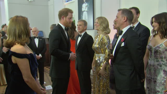 stockvideo's en b-roll-footage met interior shots of prince harry speaking to cast and crew at the royal world premiere of 'spectre' at royal albert hall on october 27 2015 in london... - ensemble lid