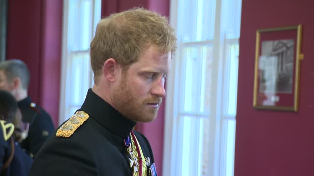 Interior shots of Prince Harry speaking to pupils and staff during a reception at Duke of York's Royal Military School>> on September 28 2015 in...