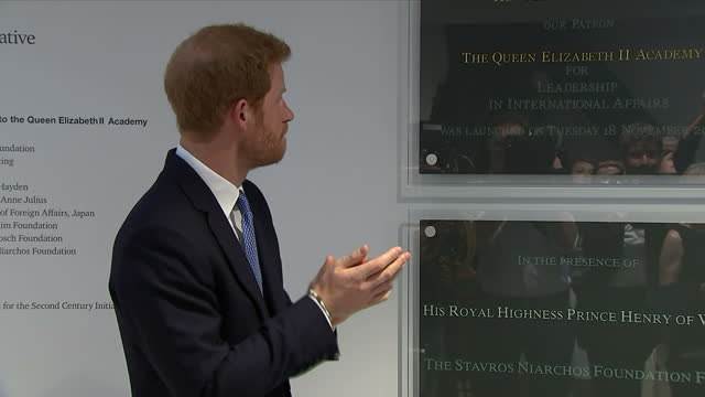 interior shots of prince harry unveiling a plaque at the official opening of the stavros niarchos foundation floor on 16 june 2017 in london united... - plaques stock videos & royalty-free footage