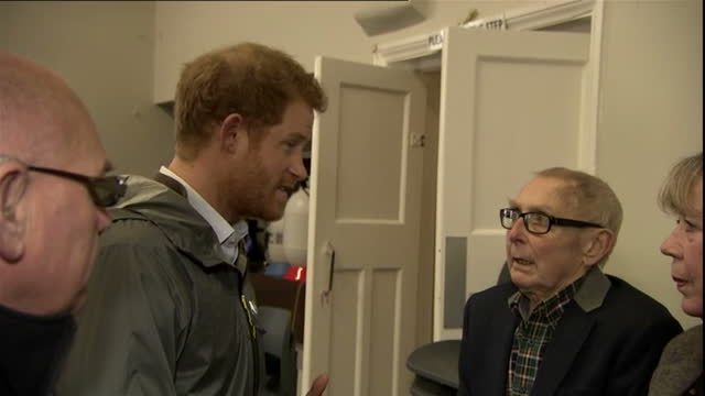 Interior shots of Prince Harry visiting house effected by the bad weather and flooding and chatting with residents in village of St Michael on Wyre...