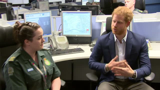 Interior shots of Prince Harry visiting the London Ambulance Service operations centre and speaking with members of staff as part of an event for...