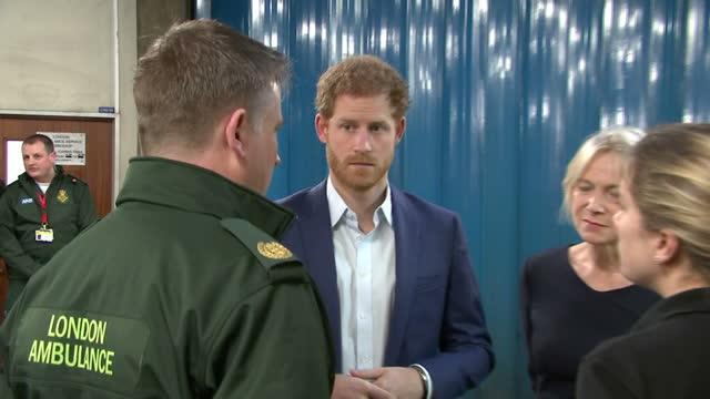 Interior shots of Prince Harry visiting the London Ambulance Service and meeting paramedics as part of an event for Time to Talk Day to raise...