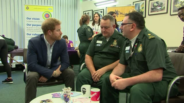 Interior shots of Prince Harry visiting the London Ambulance Service and speaking with members of staff as part of an event for Time to Talk Day to...