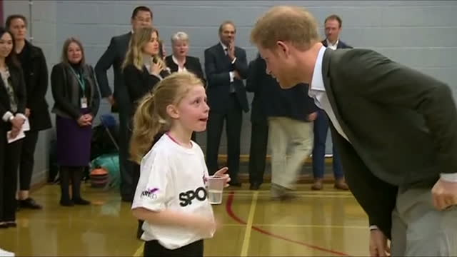 interior shots of prince harry visiting the pink lizard youth and community organisation and meeting young people taking part in a sports training... - youth organisation stock videos & royalty-free footage