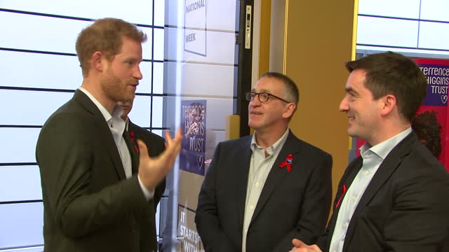 Interior shots of Prince Harry visiting the Terrence Higgins Trust HIV testing popup shop and being greeted by Chief Executive Ian Green and Jonathan...