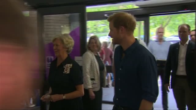 Interior shots of Prince Harry walking into Leeds teaching hospital and meeting nurses on 7 July 2017 in Leeds United Kingdom