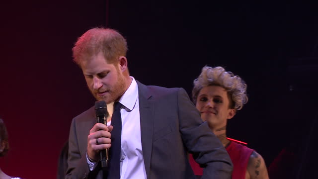 interior shots of prince harry with the cast of bat out of hell and speaking on stage after a gala performance of the rock opera on 7 december 2018... - rocking stock videos & royalty-free footage