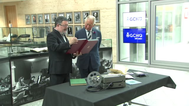 interior shots of prince of wales reunited with royal yacht britannia's encryption device as he visits gchq to mark spy agency's centenary as he is... - network security stock videos & royalty-free footage