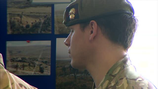 stockvideo's en b-roll-footage met interior shots of prince philip arriving and meeting with grenadier guard soldiers on february 24 2014 in aldershot england - aldershot