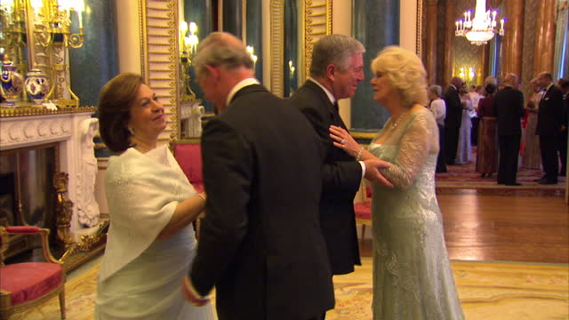 vídeos y material grabado en eventos de stock de interior shots of prince philip camilla duchess of cornwall greeting grandduke henri and grandduchess maria teresa of luxembourg at the sovereign... - 2012