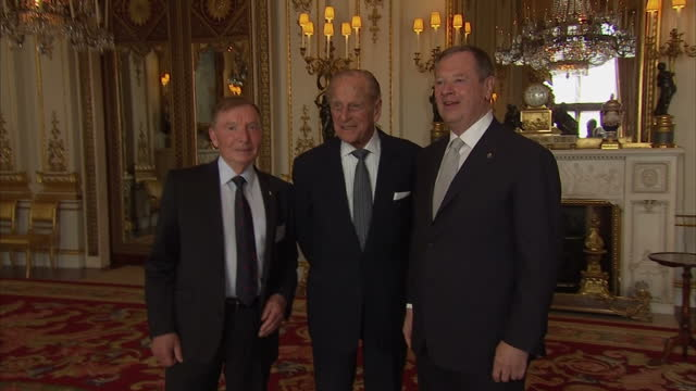 Interior shots of Prince Philip Duke of Edinburgh chatting to various guests as he hosts event for the Duke of Edinburgh Gold Awards Winners at...