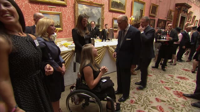 Interior shots of Prince Philip Duke of Edinburgh chatting with guests at an event of Duke of Edinburgh Gold Award Winners on May 16 2016 in London...