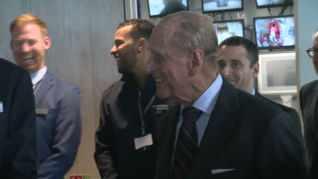 interior shots of prince philip duke of edinburgh chatting with the chief engineer dr john roberts in the control room of the i360 and david marks... - opening ceremony stock videos & royalty-free footage