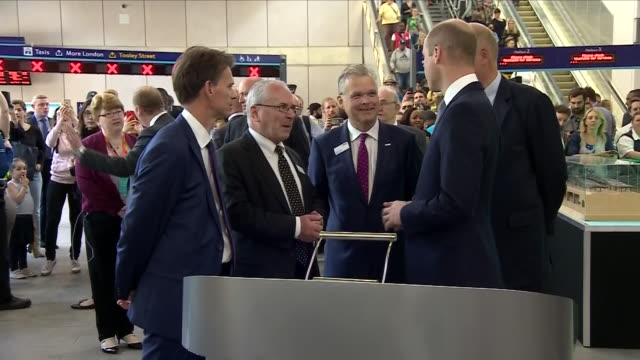 interior shots of prince willam talking to guests and signing registry book at official re-opening of london bridge station on 9 may 2018 in london,... - signierstunde stock-videos und b-roll-filmmaterial