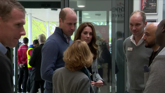 interior shots of prince william and catherine duchess of cambridge inspecting the basildon sporting village and meeting various people on 30 october... - basildon stock-videos und b-roll-filmmaterial