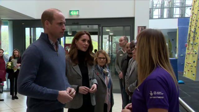 interior shots of prince william and catherine duchess of cambridge inspecting the basildon sporting village and meeting various people on 30 october... - basildon stock videos & royalty-free footage