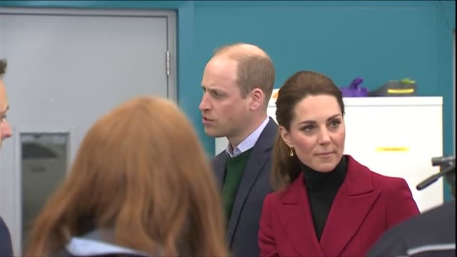 Interior shots of Prince William and Catherine Duchess of Cambridge meeting HM Coastguard crew members on a visit to Bangor on 8 May 2019 in Bangor...