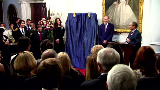 interior shots of prince william and catherine duchess of cambridge unveiling portrait of queen elizabeth ii by nick cuthell on april 10 2014 in... - royal tour stock videos & royalty-free footage