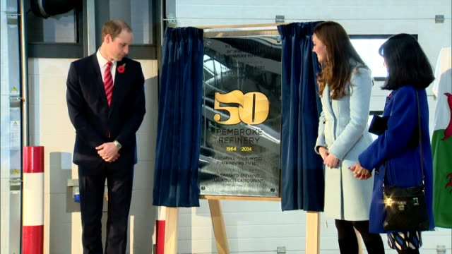 interior shots of prince william and catherine duchess of cambridge unveiling a 50th anniversary commemorative plaque to workers at the pembroke oil... - pembroke video stock e b–roll