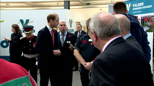 interior shots of prince william and catherine duchess of cambridge meeting staff on a visit to pembroke oil refinery on november 08 2014 in pembroke... - pembroke video stock e b–roll