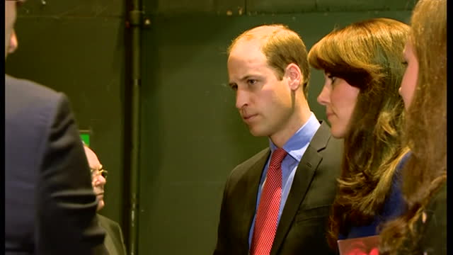 Interior shots of Prince William and Catherine Duchess of Cambridge meeting the cast and crew members involved in a production of 'In her Shadows' at...