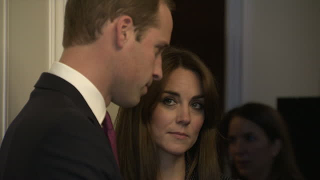 interior shots of prince william and catherine duchess of cambridge arriving at the french consulate on november 17 2015 in london england - duchess of cambridge stock videos and b-roll footage